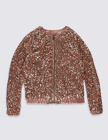 Marks and Spencer Front Zipped Sequin Jacket (4-14 Years)