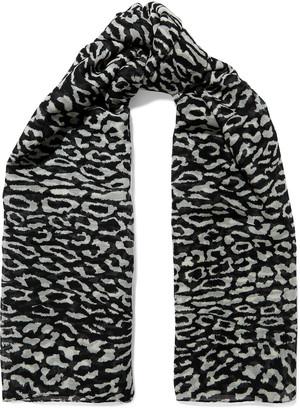 Saint Laurent Leopard-print Wool-gauze Scarf