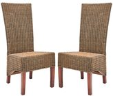 Safavieh Rural Woven Dining St. Criox Honey Wicker High Back Side Chairs (Set of 2)