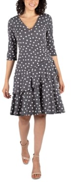 Robbie Bee Petite Polka-Dot Ruffled Wrap Dress