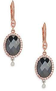 Meira T Women's Hematite, Diamond & 14K Rose Gold Drop Earrings