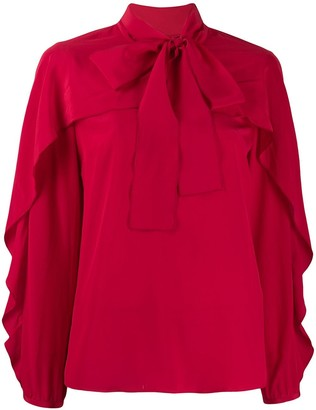 RED Valentino frilled bow embellishment blouse