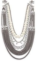 Noir Multi-Layered Chain-Link and Faux Pearl Necklace