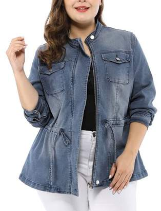 Unique Bargains Women's Plus Size Stand Collar Zip-up Drawstring Denim Jacket