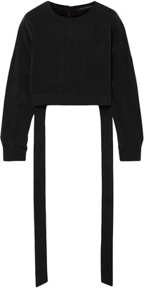 Sally LaPointe Cropped Cupro-crepe Blouse
