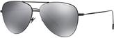 Giorgio Armani Ar6049 Frames Of Life Aviator Sunglasses, Black/mirror Grey