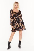Nasty Gal Womens Grow It Away Floral Mini Dress - black - 8, Black