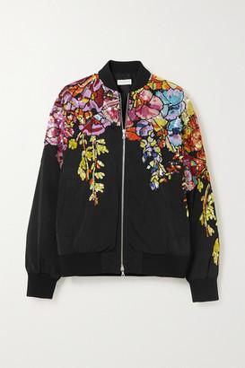 Dries Van Noten Oversized Sequin-embellished Shell Bomber Jacket - Black