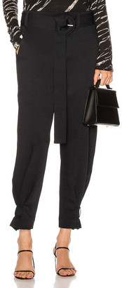 Proenza Schouler White Label Cotton Belted Pant in Black | FWRD