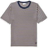 Saint Laurent Striped Slub Silk-blend Jersey T-shirt - Navy