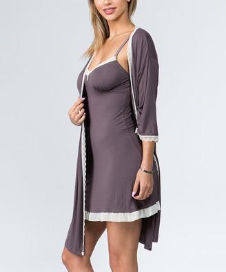 Just Sexy Women's Chemises grey - Gray & Black Sheer-Trim Chemise & Robe Set - Women