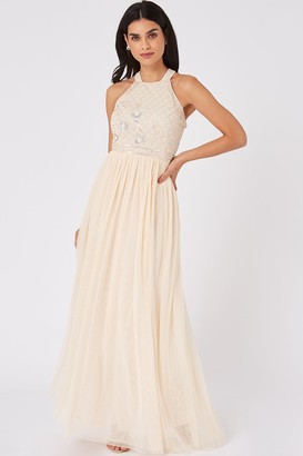 Little Mistress Ruth Nude Floral Sequin Embellished Maxi Dress