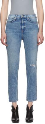 Rag & Bone Blue Nina High-Rise Ankle Cigarette Jeans