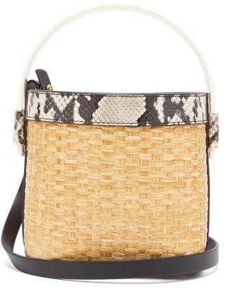 Nico Giani Adenia Mini Straw And Leather Bucket Bag - Grey Multi