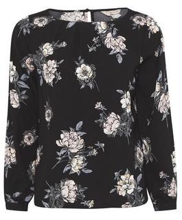 Dorothy Perkins Womens Billie & Blossom Petite Black Floral Printed Long Sleeve Top, Black