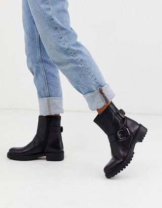 Rule London biker boots in black leather