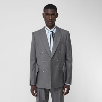 Burberry English Fit Cargo Belt Detail Wool Tailored Jacket
