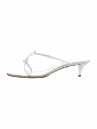 Hermes Chaine d'Ancre Insignia Leather T-Strap Sandals White