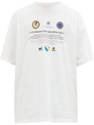 Vetements Seized Website Print Cotton Jersey T Shirt - Mens - White