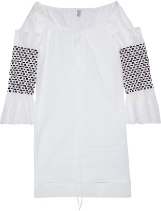 Rosie Assoulin Smocked Embellished Cotton-voile Tunic