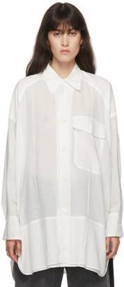 Y's Ys White Silk K-Pin Tuck Shirt
