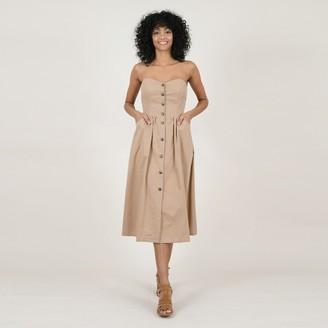 Molly Bracken Cotton Strapless Midi Dress with Button Fastening