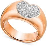 Swarovski Rose Gold-Tone Crystal Pavé Heart Ring
