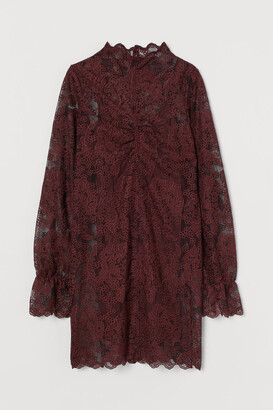 H&M Lace Stand-up Collar Dress - Red
