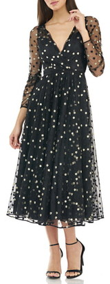 Carmen Marc Valvo Embroidered Tulle Faux Wrap Cocktail Dress