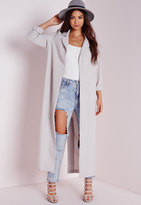 Missguided Long Sleeve Maxi Duster Jacket Grey