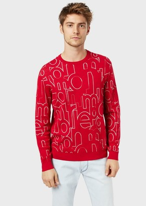 Emporio Armani Sweater With All-Over Jacquard Logo Lettering