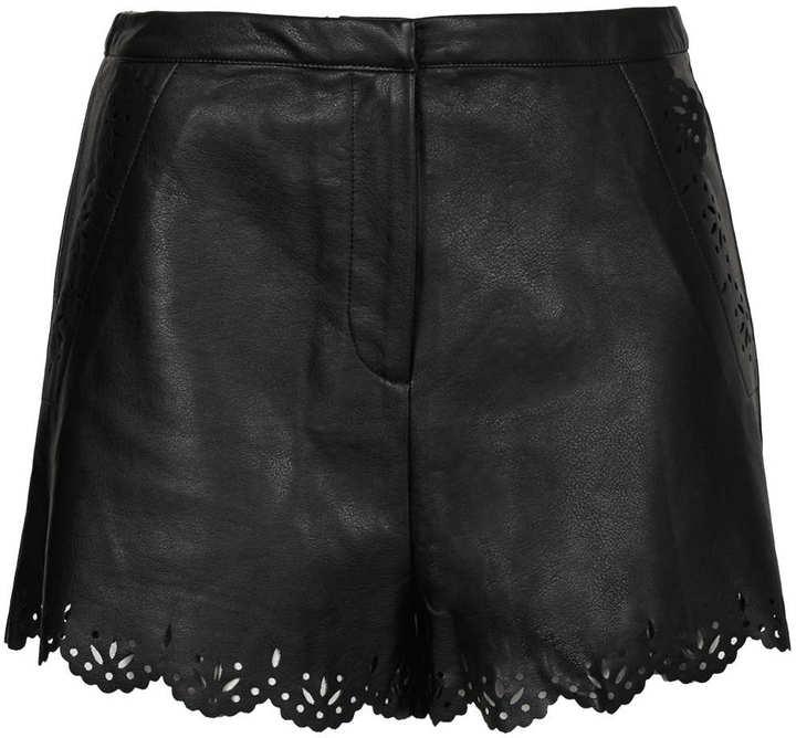 Topshop Tall black lazercut shorts