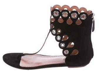 Alaia Suede Grommet Sandals