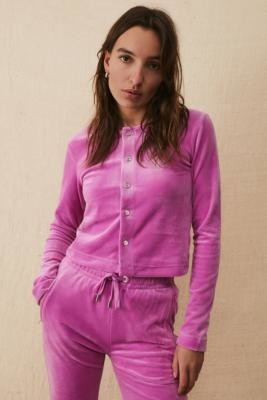 Juicy Couture UO Exclusive Rose Velour Rhinestone Cardigan - Pink XS at Urban Outfitters