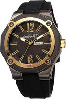 August Steiner Men's Quartz Stainless Steel and Leather Casual Watch, Color:Black (Model: AS8232GNG)