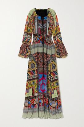 Etro Tie-detailed Printed Silk-crepon Maxi Dress - Blue