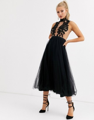 Forever Unique high neck midi tulle dress with applique detail in black