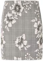 Dorothy Perkins Grey Floral Checked Mini Skirt