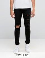 Liquor & Poker Jeans Stretch Skinny Heavy Distressed Black