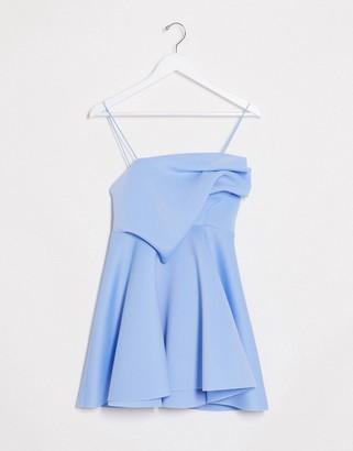 ASOS DESIGN tuck detail cami skater mini dress in powder blue