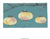 vipsung Custom printed Throw Blanket with Lantern Decor Three Paper Lanterns Hanging On The Branches Lighting Fixture Source Lamp Boho Print Decores Teal Yellow Super soft and Cozy Fleece Blanket