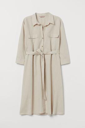 H&M H&M+ Linen-blend Shirt Dress - Beige