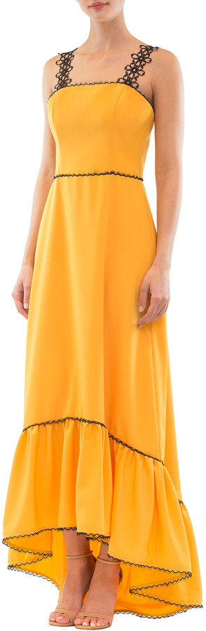 Nha Khanh High-Low Ruffled Flower-Strap Dress