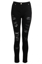 Quiz Black Denim Ripped Skinny Jeans