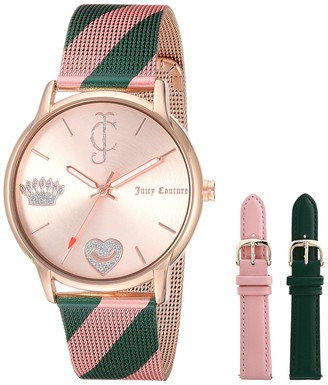 Juicy Couture Black Label Women's JC/1094INST Pink and Green Mesh Bracelet Watch with Interchangeable Strap Set