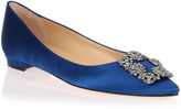 Manolo Blahnik Flat Hangisi satin royal blue