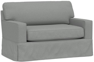 Pottery Barn Cameron Square Arm Slipcovered Twin Sleeper Sofa with Memory Foam Mattress