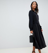Asos Tall DESIGN Tall ruched waist chuck on midi dress with long sleeves