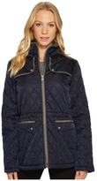 Vince Camuto Quilted Jacket with Faux Suede Contrast Detail N8841 Women's Coat