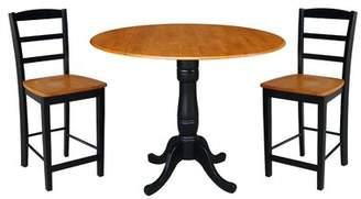 August Grove Spiva Round Top Pedestal Extending 3 Piece Pub Table Set August Grove Color: Black/Cherry